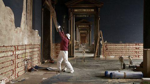 Standing, Floor, Concrete, Building material, Brick, Workwear, Tradesman,