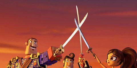 Fictional character, Animation, Costume, Illustration, Fiction, Animated cartoon, Longbow, Band plays, Acting,