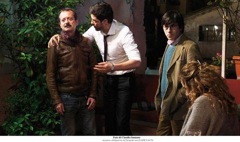 Human, Interaction, Jacket, Conversation, Scene, Leather jacket, Leather, Acting, Pocket, Belt,