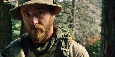 Human, Soldier, Hat, Mammal, Facial hair, Military camouflage, Jaw, Headgear, Military person, Camouflage,