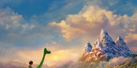 Nature, Sky, Cloud, Dinosaur, Landscape, Natural landscape, Mountain range, Summit, Arête, Art,