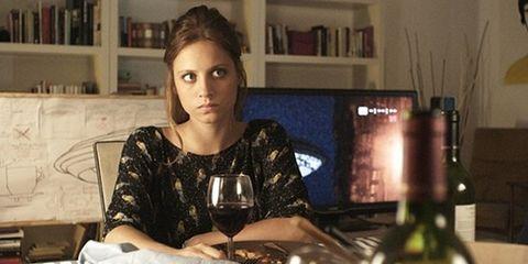 Stemware, Drinkware, Glass, Wine glass, Shelf, Drink, Sitting, Display device, Barware, Tableware,
