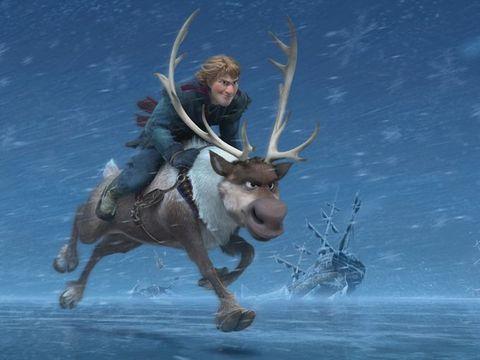 Deer, Horn, Working animal, Fictional character, Pack animal, Animation, Antler, Reindeer, Boot,