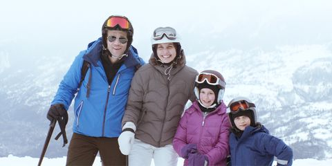 Face, Winter, Jacket, Smile, Fun, Recreation, Trousers, Personal protective equipment, Outerwear, Mammal,