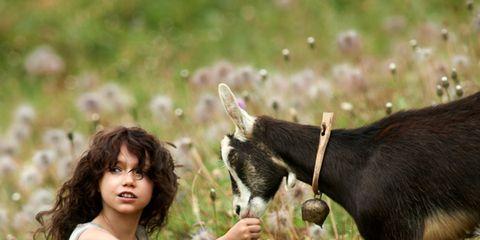 Human, Vertebrate, Happy, Goat, People in nature, Goats, Summer, Goat-antelope, Working animal, Fur,