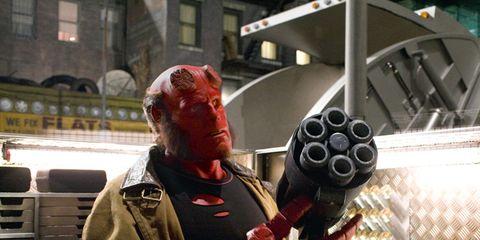 Fictional character, Carmine, Glove, Costume, Hellboy, Fiction, Superhero, Cosplay, Hero, Toy,