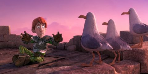 Vertebrate, Bird, Animation, Purple, Violet, Animated cartoon, Beak, Wing, Fictional character, Red hair,