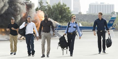 Trousers, T-shirt, Bag, Jacket, Luggage and bags, Waist, Tower block, Street fashion, Smoke, Pollution,