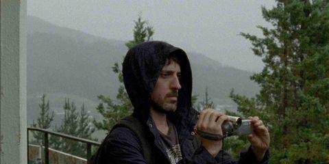 Facial hair, Jacket, Beard, Hill station, Moustache, Mountain range, Conifer, Evergreen, Haze, Ridge,