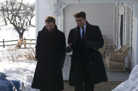 Winter, Trousers, Coat, Outerwear, Standing, Suit, Suit trousers, Formal wear, Tie, Collar,