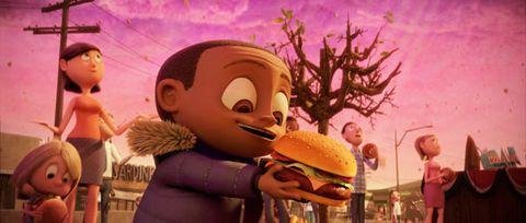 Sandwich, Animation, Food, Dish, Bun, Hamburger, Animated cartoon, Finger food, Cuisine, Baked goods,