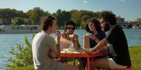 Leg, Human body, Sitting, Leisure, Outdoor furniture, Summer, Table, Furniture, Outdoor table, Tourism,