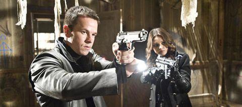 Jacket, Shooting, Leather, Movie, Curtain, Air gun, Revolver, Gun barrel, Optical instrument, Hero,