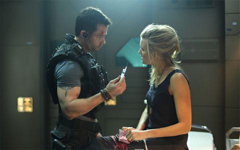 Human body, Hand, Wrist, Bag, Conversation, Belt, Ballistic vest, Bracelet, Action film, Strap,