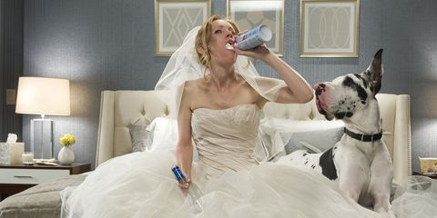 Clothing, Dress, Textile, Dog breed, Bridal clothing, Gown, Dog, Wedding dress, Bride, Carnivore,