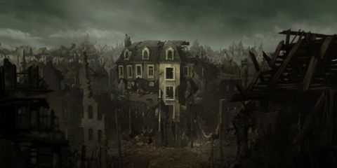 Neighbourhood, Town, Atmospheric phenomenon, Residential area, Art, Darkness, Visual arts, Village, Painting, Suburb,