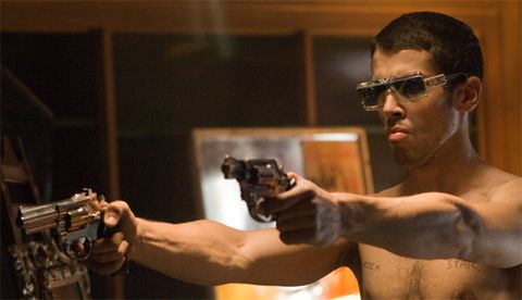 Eyewear, Ear, Vision care, Sunglasses, Barechested, Muscle, Goggles, Shooting, Chest, Trunk,