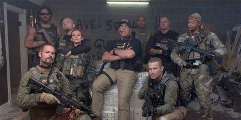 Soldier, Military uniform, Military person, Footwear, Military camouflage, Gun, Military organization, Rifle, Squad, Firearm,