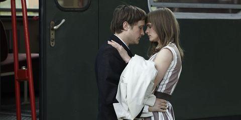 Shoulder, Formal wear, Interaction, Romance, Dress, Love, Door, Gesture, Hug, Handle,
