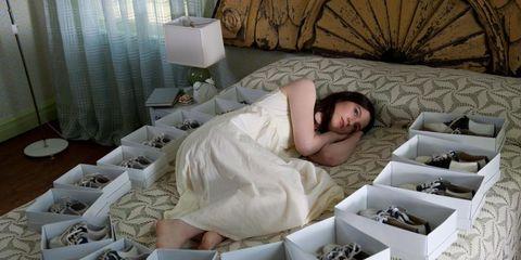 Human, Comfort, Room, Interior design, Bed, Bedroom, Linens, Bedding, Lamp, Bed sheet,