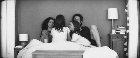 Comfort, People, Room, Photograph, Happy, Facial expression, Linens, Lamp, Sitting, Bedroom,