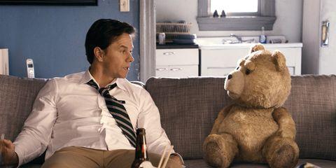 Stuffed toy, Dress shirt, Room, Toy, Plush, Teddy bear, Cabinetry, Comfort, Bear, Home,