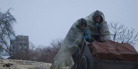 Tire, Mode of transport, Cart, Farmer, Village, Wagon, Raincoat,