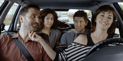 Hair, Head, Motor vehicle, Nose, Mouth, People, Fun, Vehicle door, Interaction, Passenger,