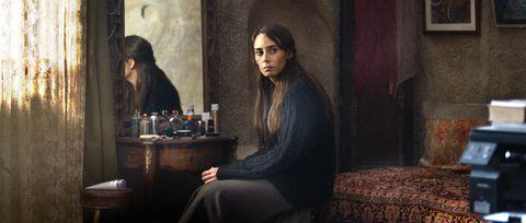 Human, Hairstyle, Sitting, Black hair, Long hair, Linens, Portrait, Painting,