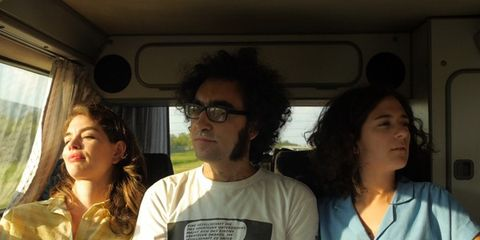 Glasses, Transport, Shirt, Passenger, Friendship, Black hair, Public transport, Curtain, Service, Active shirt,