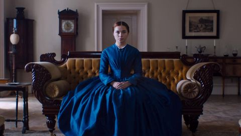 Blue, Sitting, Furniture, Dress, Room, Chair, Couch, Gown, Costume, House,