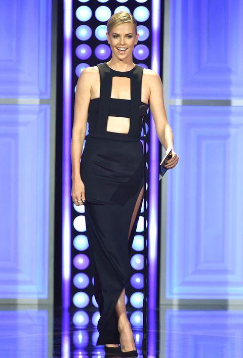 Blue, Shoulder, Joint, Dress, Style, Fashion show, Electric blue, Waist, Fashion model, Cobalt blue,