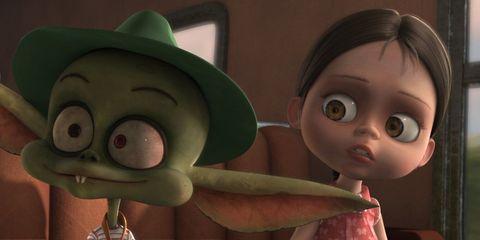 Animated cartoon, Green, Animation, Head, Nose, Skin, Cheek, Mouth, Adventure game, Fun,