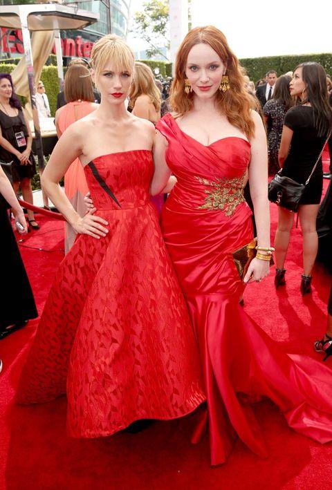 Clothing, Hair, Face, Head, Dress, Textile, Red, Strapless dress, Flooring, Carpet,