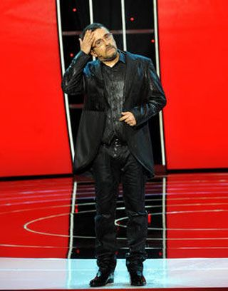 Microphone, Red, Jacket, Outerwear, Coat, Blazer, Leather, Street fashion, Leather jacket, Boot,