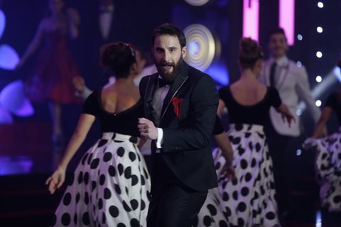 Event, Dress, Entertainment, Coat, Formal wear, Performing arts, Suit, Interaction, Fashion, Beard,