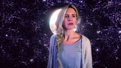 Space, Astronomical object, Beauty, Blond, Flash photography, Star, Outer space, Astronomy, Portrait photography, Sweater,