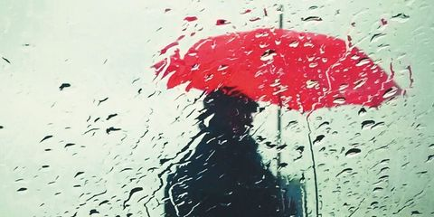 Water, Rain, Red, Umbrella, Drizzle, Wall, Drop, Illustration, Sky, Material property,