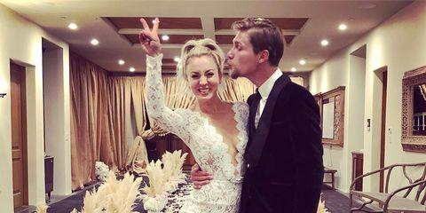 Dress, Wedding dress, Gown, Fashion, Bridal clothing, Ceremony, Happy, Formal wear, Suit, Bride,
