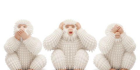 Fur, Stuffed toy, Primate, Figurine, Wool, Sitting, Fictional character,