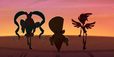 Animation, Cg artwork, Fictional character, Animated cartoon, Illustration, Graphics, Fiction, Sunset, Dusk, Graphic design,