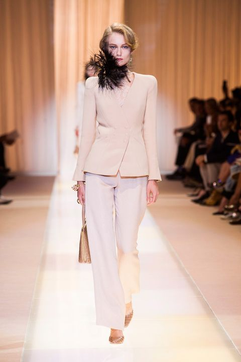 Clothing, Fashion show, Brown, Runway, Shoulder, Joint, Fashion model, Outerwear, Style, Waist,