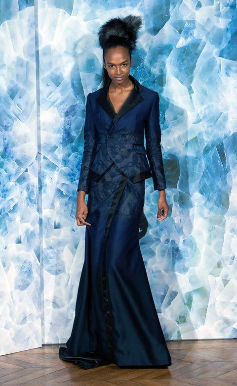 Blue, Formal wear, Style, Fashion model, Dress, Electric blue, Fashion, One-piece garment, Aqua, Model,