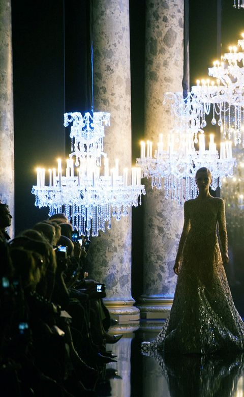 Lighting, Light fixture, Gown, Candle holder, Chandelier, One-piece garment, Haute couture,