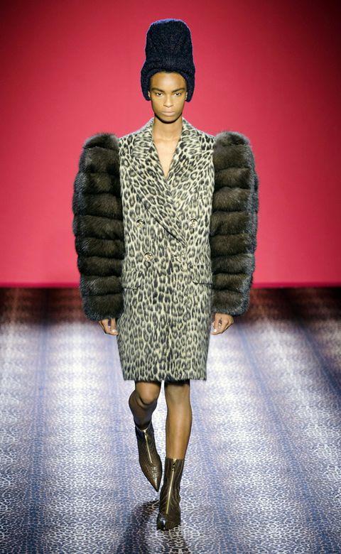 Clothing, Human, Textile, Outerwear, Style, Fashion show, Fur clothing, Street fashion, Natural material, Fashion model,