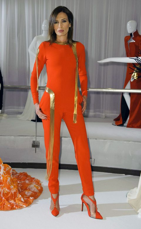 Orange, Red, Costume, Curtain, Fashion design, Costume design, Makeover, Bell peppers and chili peppers, Chili pepper, Fashion model,