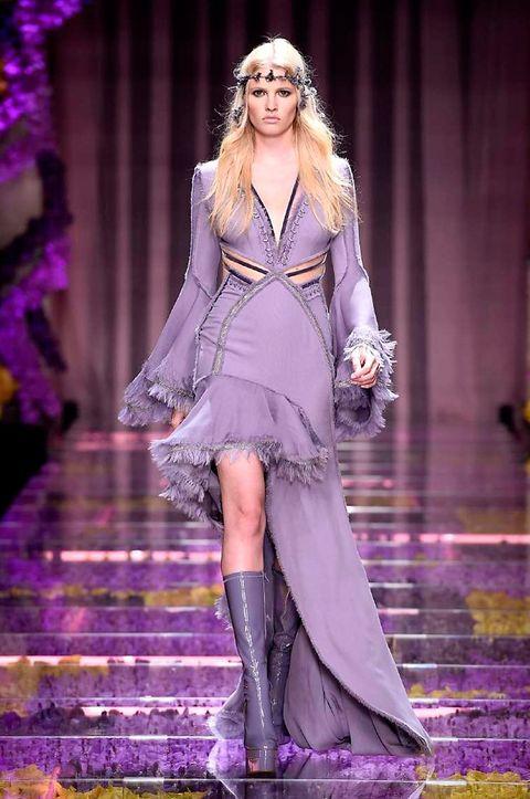 Clothing, Dress, Purple, Shoe, Fashion show, Violet, Style, Fashion model, Lavender, Runway,