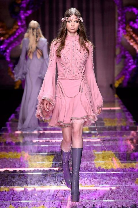 Clothing, Fashion show, Purple, Outerwear, Violet, Runway, Pink, Style, Dress, Fashion model,