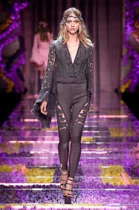 Fashion show, Purple, Violet, Outerwear, Runway, Fashion model, Style, Lavender, Fashion, Magenta,