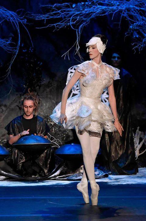 Human, Dancer, Costume design, Stage, Performance art, Dance, Fashion design, Painting, heater, One-piece garment,